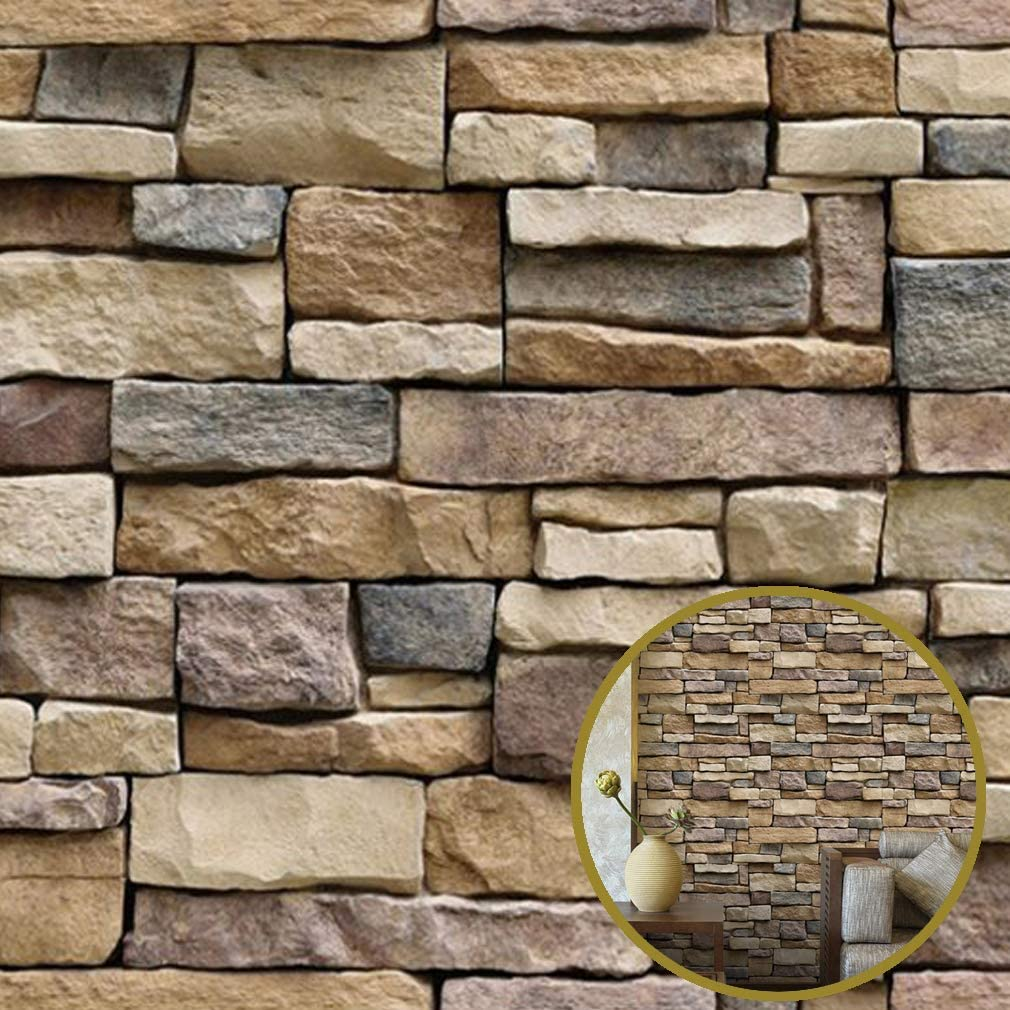"3D Stone Decorative Brick Wallpaper Removable PVC Wallpaper [17.7""x393"" ] Home Wall Decor Art Wall Papered for Bedroom Living Room Background Decoration"