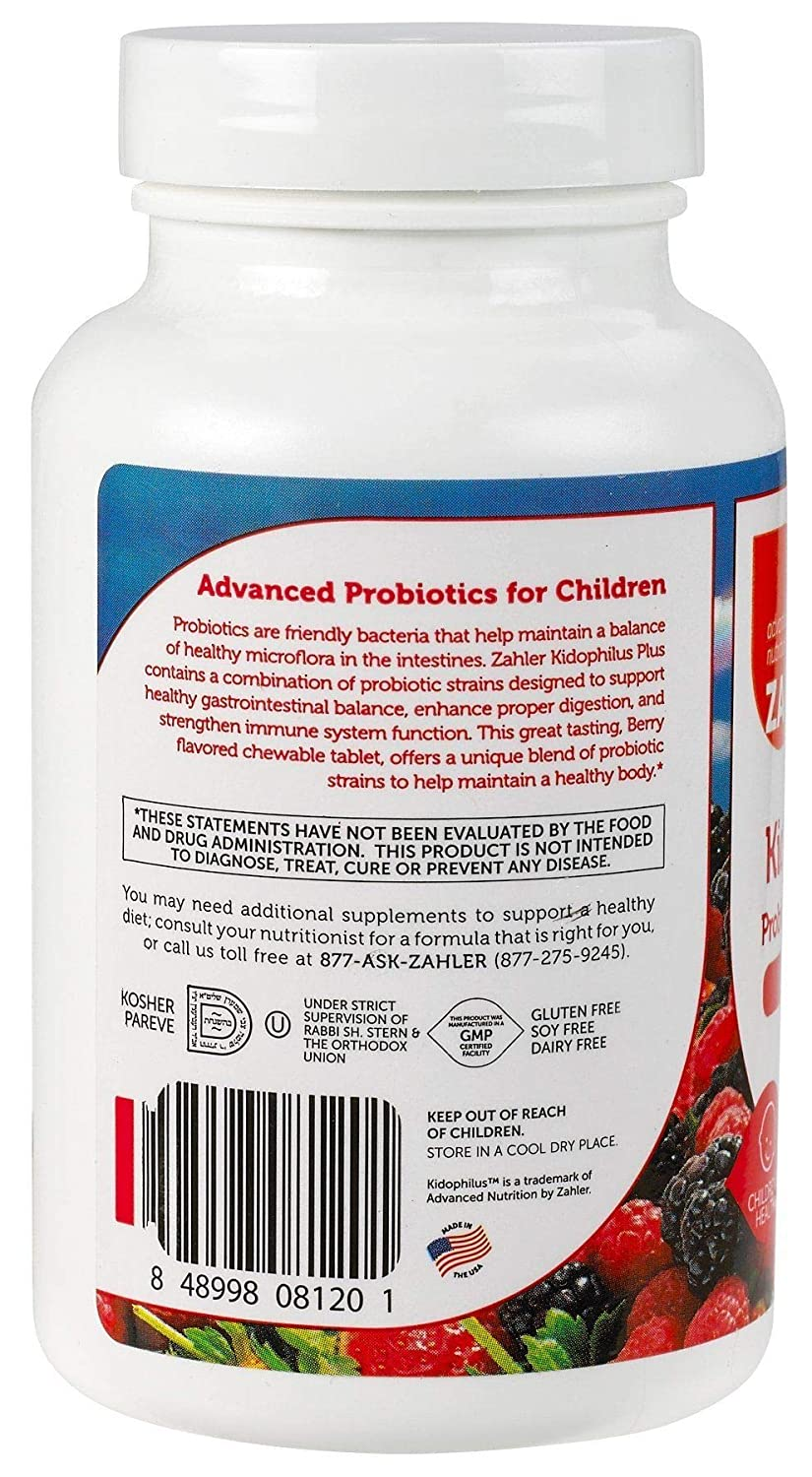 Zahler Kidophilus Plus, Chewable Kids Probiotics, All Natural Great Tasting Acidophilus for Children, Certified Kosher, 90 Chewable Tablets: Amazon.es: ...