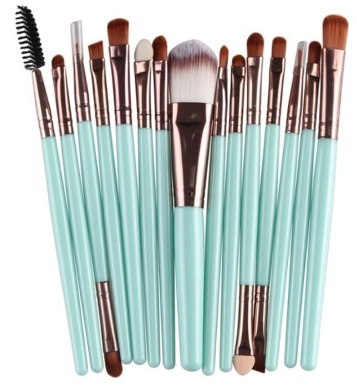 15 Piece Makeup Brushes Set Eye Shadow Brow Eyeliner Eyelash Lip Power Cosmetic Make Up Tool Foundation Natural Beauty Palette Eyeshadow Fascinating Popular Colorful Rainbow Highlights Kit, Type-13