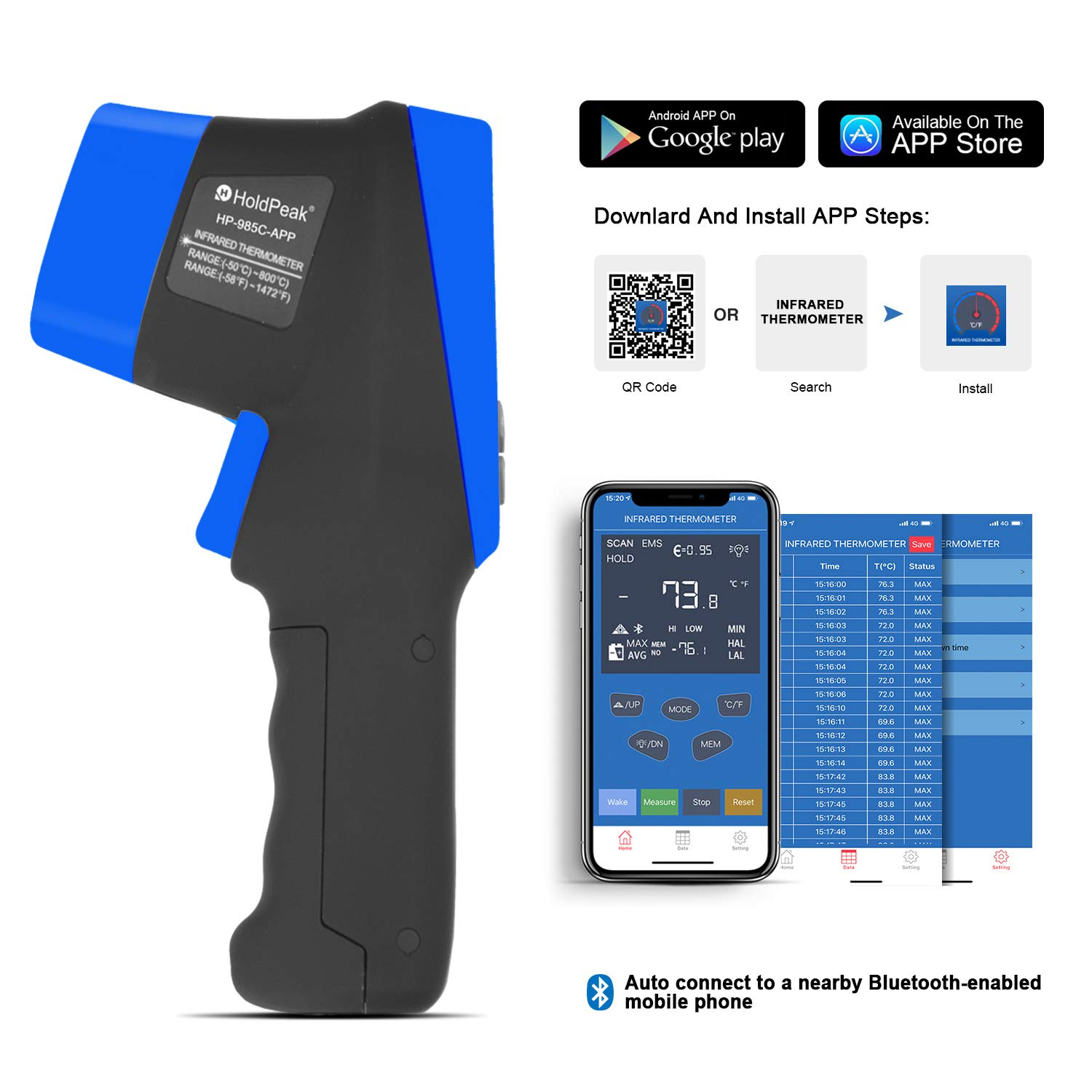 HOLDPEAK HP-985C-APP Infrared Thermometer Gun Connect to Your Phone via Bluetooth with APP,Non-Contact IR Temperature Gun -58 to1472℉(-50 to 800℃),DS 16:1 with Adjustable Emissivity for Forge Kiln by H HOLDPEAK (Image #5)