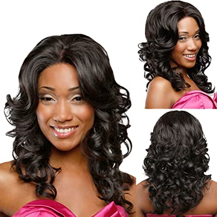 Christmas Hairstyles For Black Girls.Amazon Com Fashion Middle Part Black Women Hair Wigs Sweet