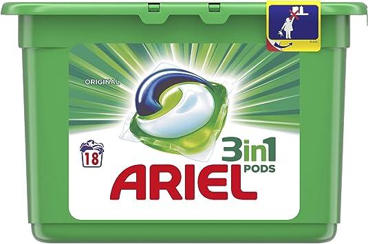 Ariel 3 in 1 Detergente Original en capsulas para lavadora 18 dosis ...