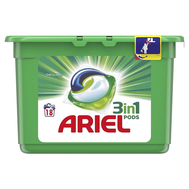 Ariel 3 in 1 Detergente Original en capsulas para lavadora 18 ...