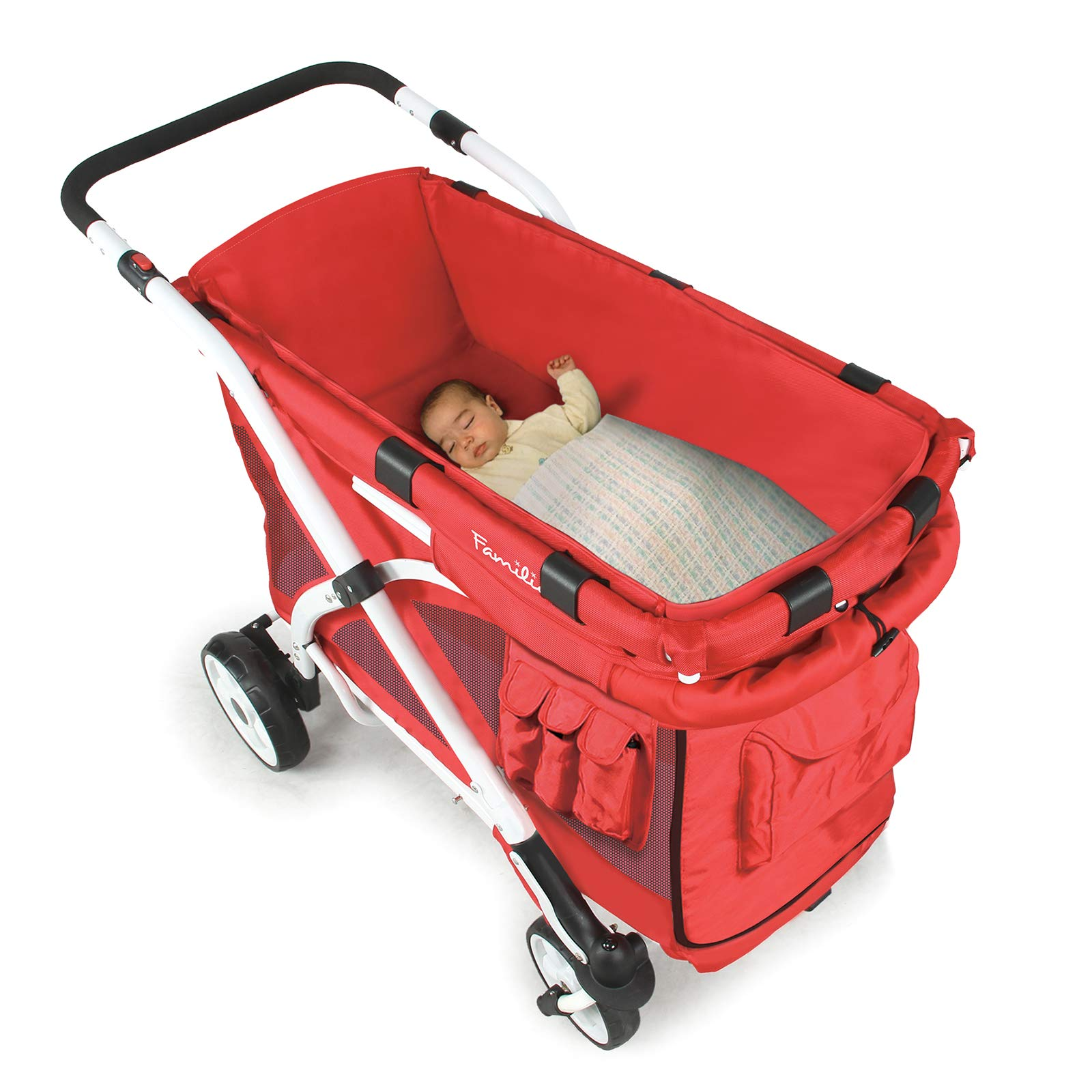 Familidoo Multi-Purpose 6 in 1 Large Twin Size Toddler Baby Folding Stroller Chariot Wagon, Red by FAMILIDOO (Image #3)