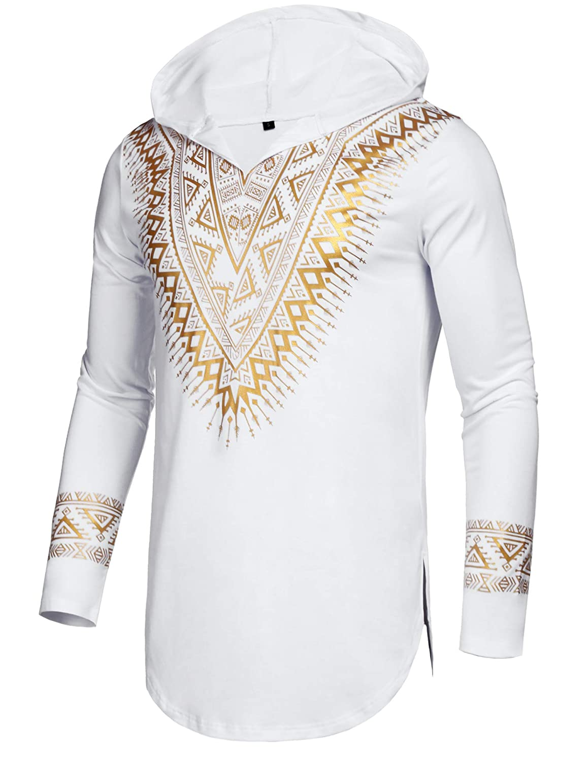 Pacinoble Mens African Dashiki Shirt Metallic Floral Printed Slim Fit Long Sleeve Shirts Blouse