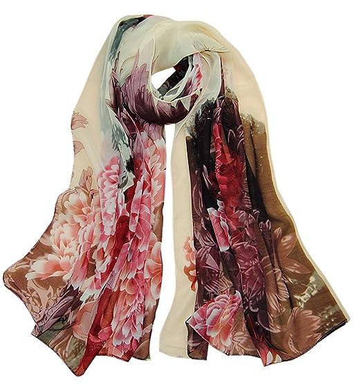 b2cc80c56b6d0 Alysee Women Retro Print Floral Chiffon Long Scarf Shawl Wrap Color Beige  at Amazon Women's Clothing store: