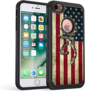 iPhone 6S Plus Case,Rossy Camo American Flag Design Shock-Absorption Dual Layer Hard PC and Soft Silicone Heavy Duty Bumper Protective Case Cover for Apple iPhone 6S Plus/iPhone 6 Plus 5.5