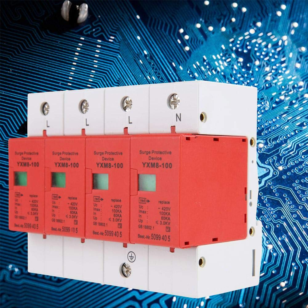 220V 4P 100kA Lightning Protector,House Surge Protector DIN Rail Low-Voltage Arrester Device for Protecting Electric System and On-Loading Electrical from Over-Voltage