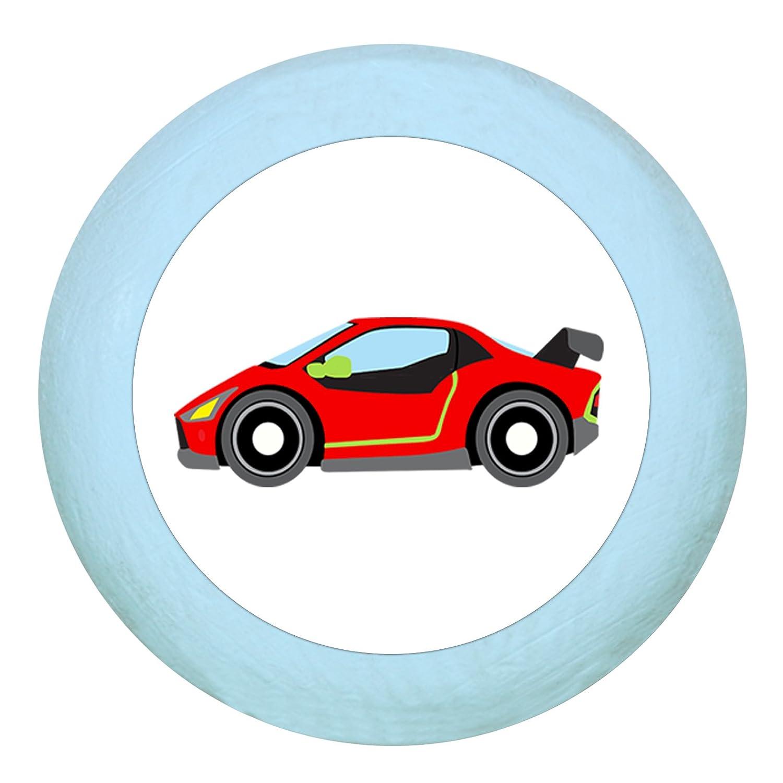 T/ürgriff M/öbelknaufRennauto Flitzer rot lila Holz Buche Kinder Kinderzimmer 1 St/ück Fahrzeuge Transportfahrzeuge Traum Kind