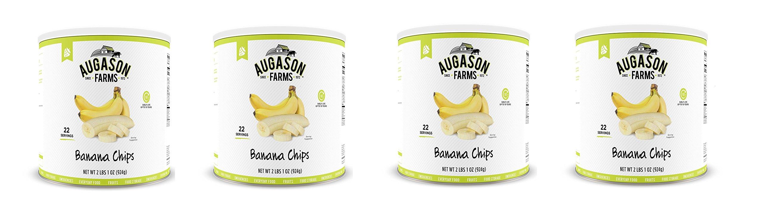 Augason Farms Banana Chips 2 lbs 1 oz No. 10 Can (4 bottles)