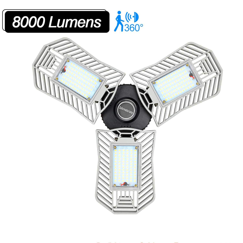 Motion Sensor Garage Light, Deformable Led Garage Lights 8000LM 80W Garage Work Light, E26 Garage Light Bulb, Ultra-Bright Led Garage Ceiling Lights for Warehouse, Basement (80W Motion Detection)