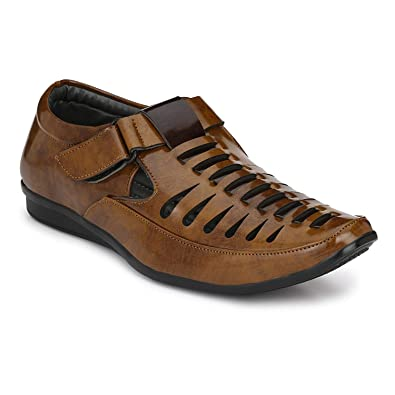 613b3f31d9a Sklodge Men s Jerkey Brown Patent Leather Casual Sandals