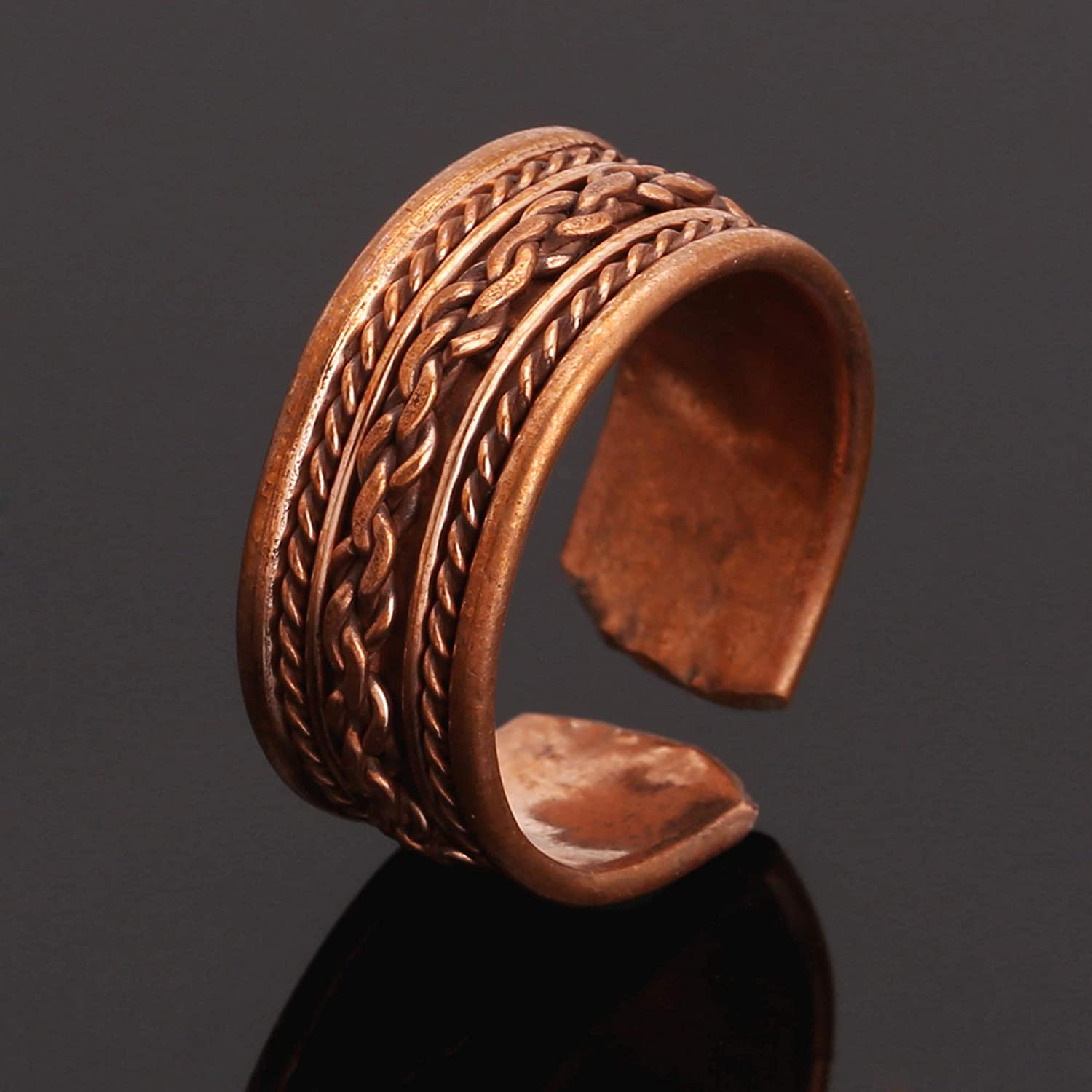 iCraftJewel Pure Copper Ethnic Style Ring for Unisex Bio Healing Pain Reliever Ring Gift Item
