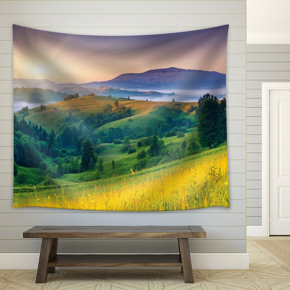 Sun Rising Behind The Mountains Filled with Pine Trees - Fabric Tapestry, Home Decor - 68x80 inches