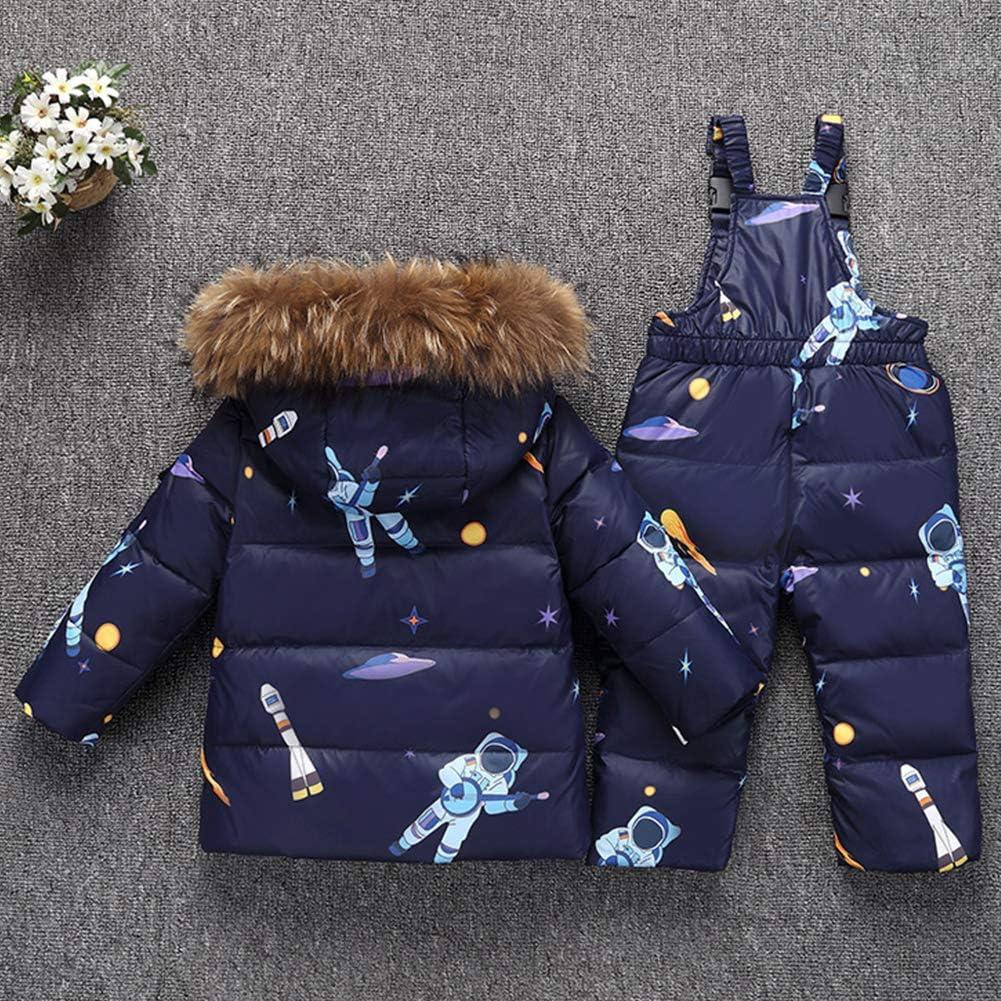 LSHEL Kinder M/ädchen Schneeanzug Jungen Skianzug Daunenjacke mit K/ünstliches Fell Kaputze Winterjacke Mit Daunenhose Bekleidungsset Snowsuit 2tlg