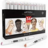 ARTEZA Skin Tone Alcohol Based Everblend Art Markers, Set of 36 Colors, Sketch Markers with Dual Tips (Fine and Broad…