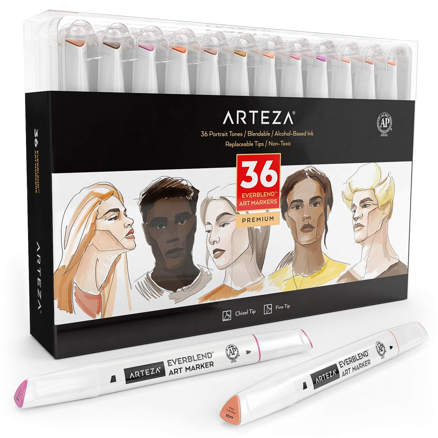 ARTEZA Everblend Skin Tone Art Markers, Set of 36 Colors, Alcohol Based Sketch Markers with Dual Tips (Fine and Broad Chisel) for Painting, Coloring, Sketching and Drawing