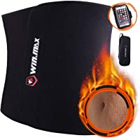 Win.Max Waist Trimmer Belt and Lumbar Support with Sauna Suit Effect (Black)