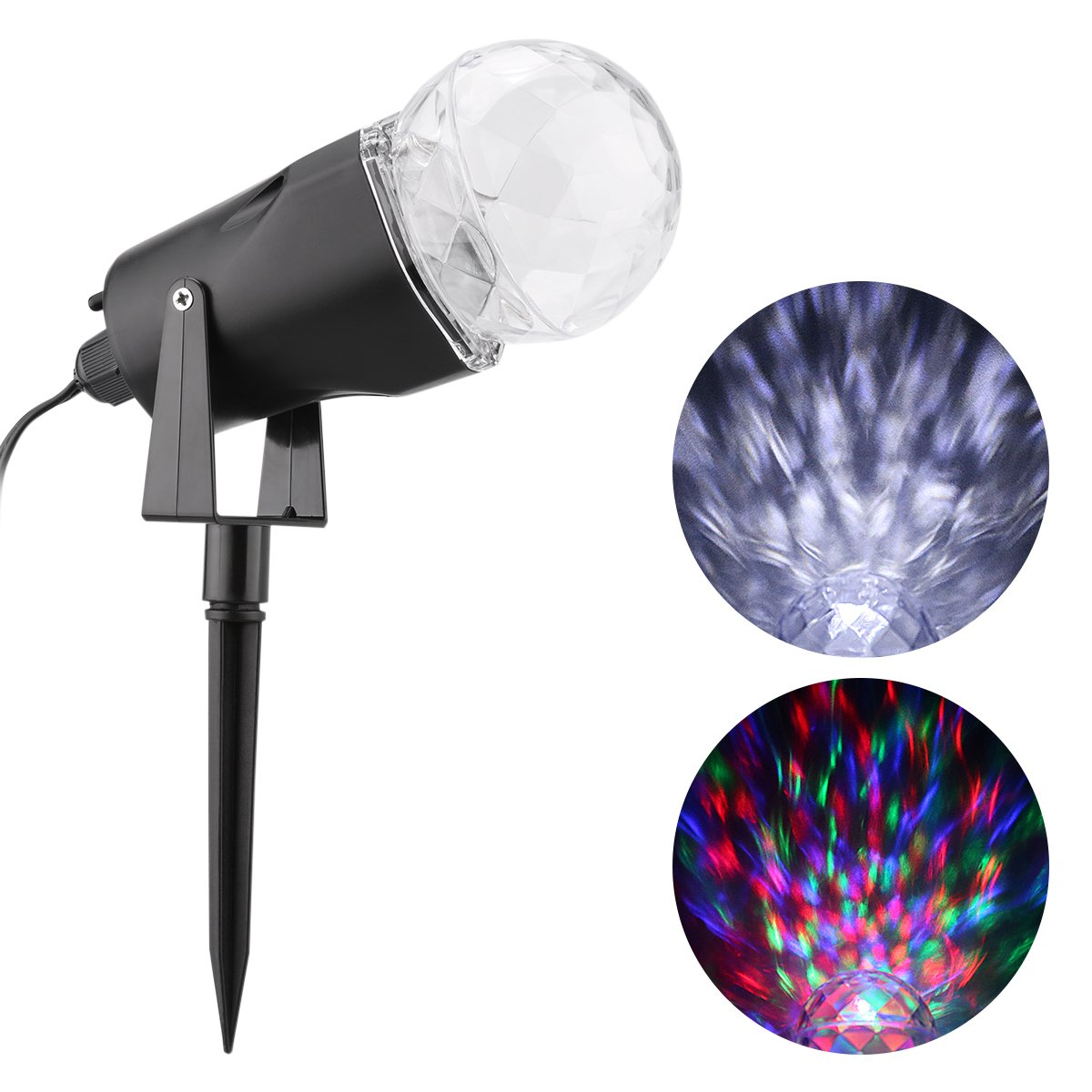 Amazon.com: Excelvan Kaleidoscope Spotlight Rotating Led Light RBG ...