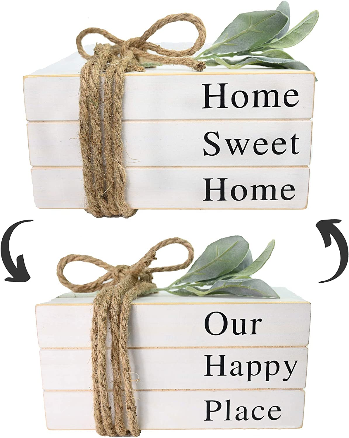 Dollan Stack Faux Books for Decoration, Decorative Stacked Farmhouse Wooden Books,2in1 White Book Shelf Decor, Home Sweet Home/Our Happy Place Signs,Accents, Rustic,Antique,Bookends (10x6x4 inches)