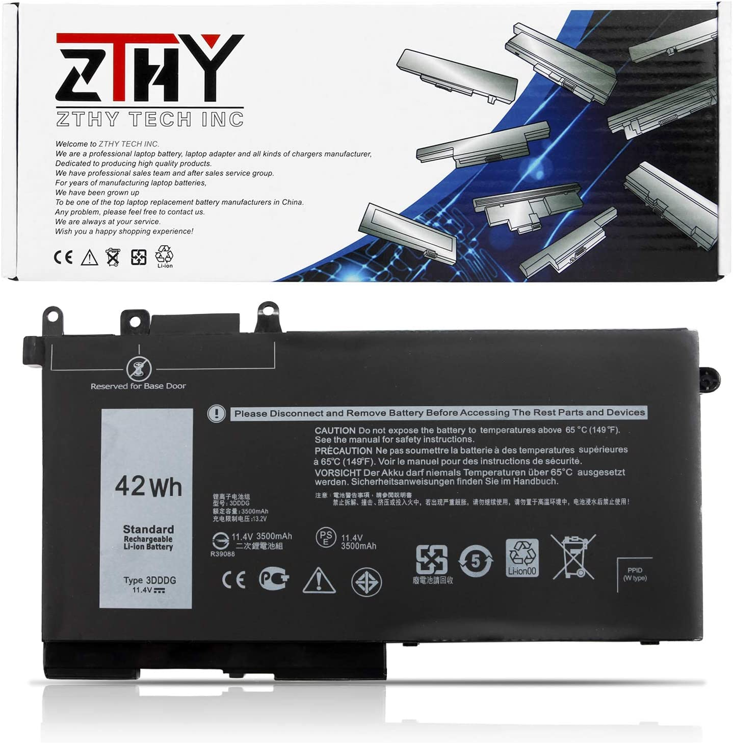 ZTHY 3DDDG Laptop Battery Replacement for Dell Latitude E5280 E5480 E5580 5280 5288 5290 5480 5488 5490 5491 5495 5580 5590 Precision 3520 3530 Series 049XH 45N3J 3VC9Y RRJDX 451-BBZP 11.4V 42Wh 3Cell