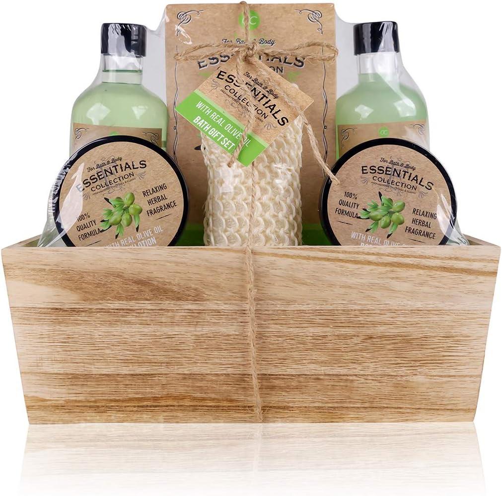 Accentra Olive - Set de regalo con cesta de madera para baño, spa y ducha, aroma de oliva, 6 piezas