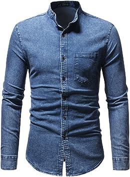 Camisas Hombre,Camiseta de Manga Larga desgastadas Vintage de Otoño Invierno de Hombres Moda Blusa Tops Camisa Vaquera Denim Camiseta Casual Niños Camisetas Deporte Hombre: Amazon.es: Deportes y aire libre