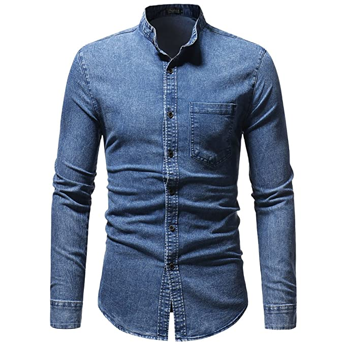 OHQ_Camisa Hombre Blusa OtoñO Moda 2018 Invierno Vintage Apenado Solid Denim Manga Larga Camiseta Top Blusa