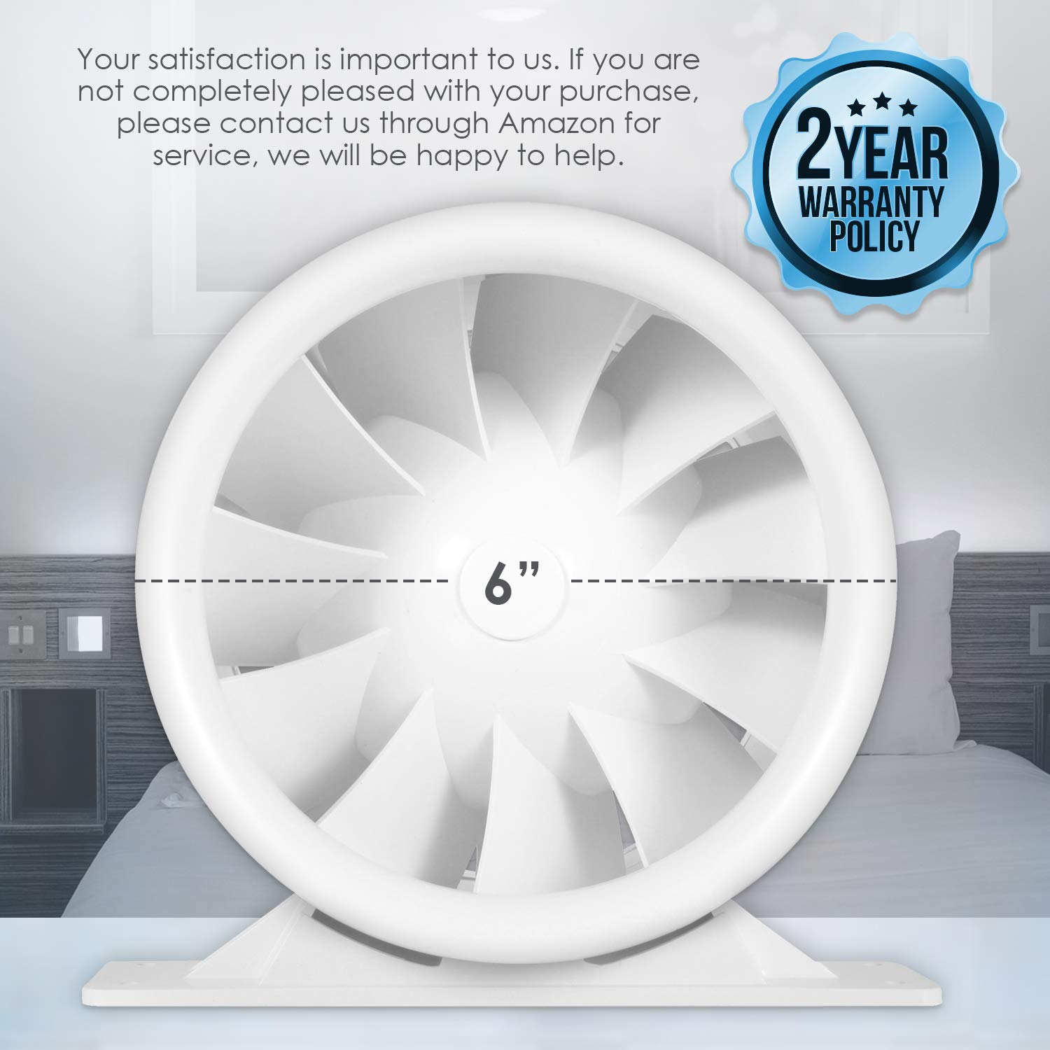 188 CFM 6 Silent Inline Duct Fan 26W Quiet Mixed-Flow Energy Efficient Blower for Air Circulation in Ducting Vents Grow Tents