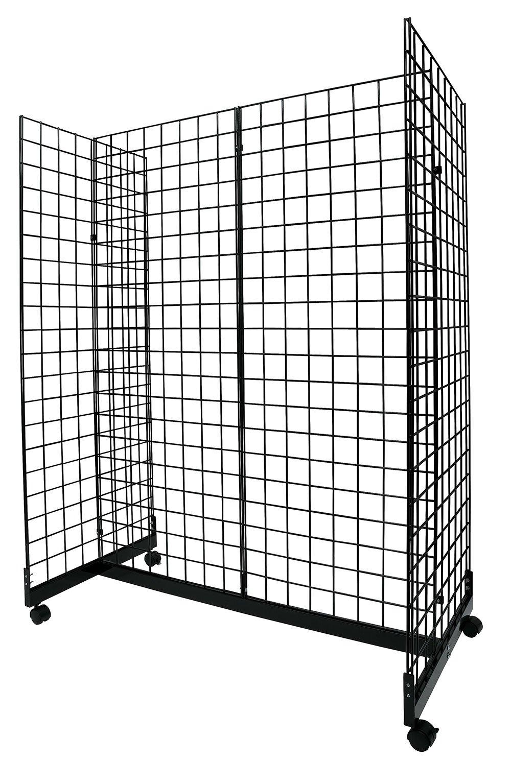 Black Grid Gondola Unit - Includes Base and Casters - Grid Unit 48''L x 66''H x 24''W