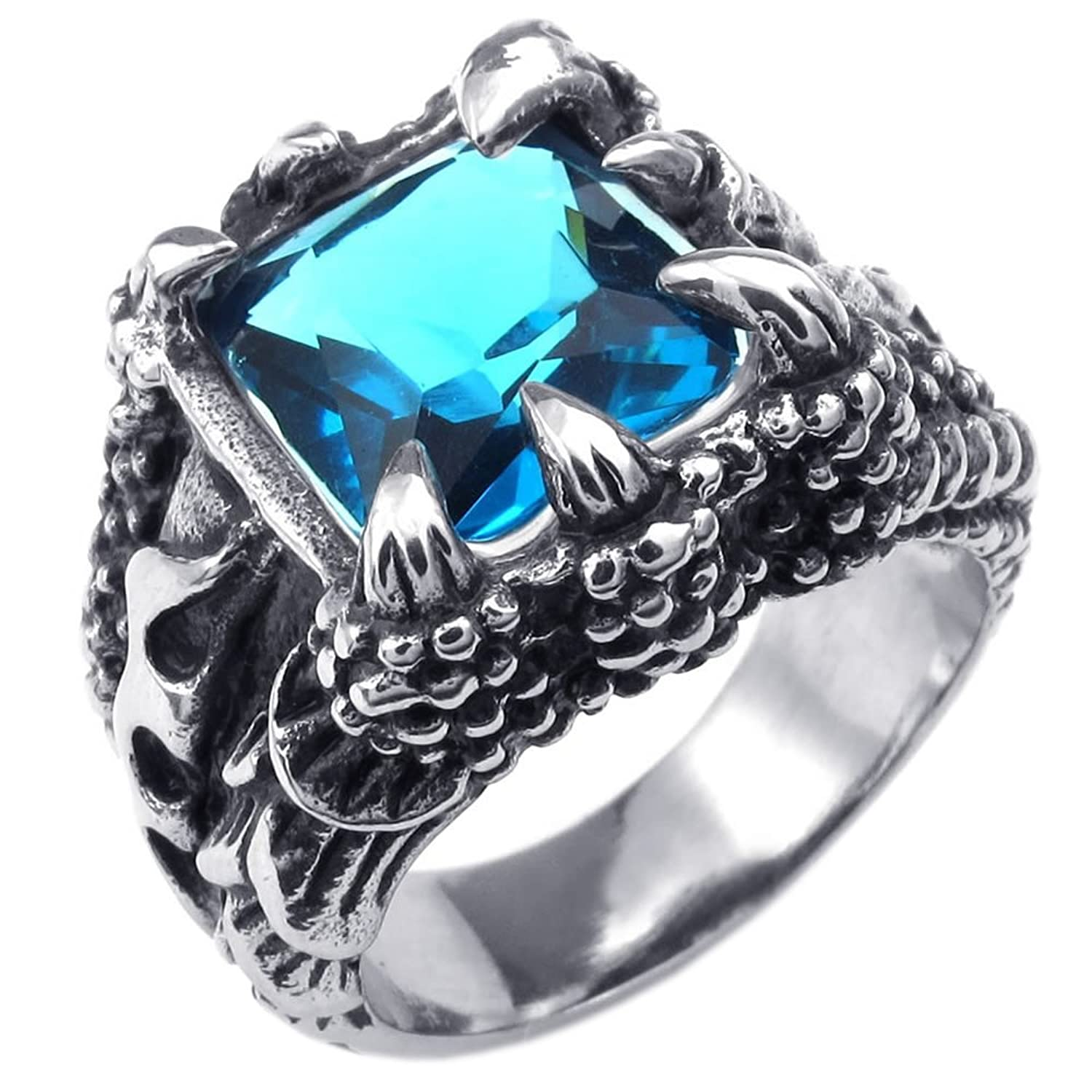 KONOV Mens Crystal Stainless Steel Ring Gothic Dragon Claw Blue