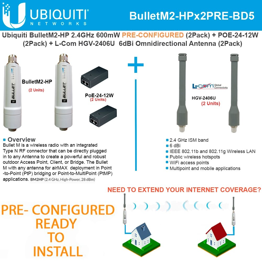 Ubiquiti BulletM2-HP 50+km PRE-CONF +Antenna 2.4GHz 6dBi Omnidirectional (2PACK)