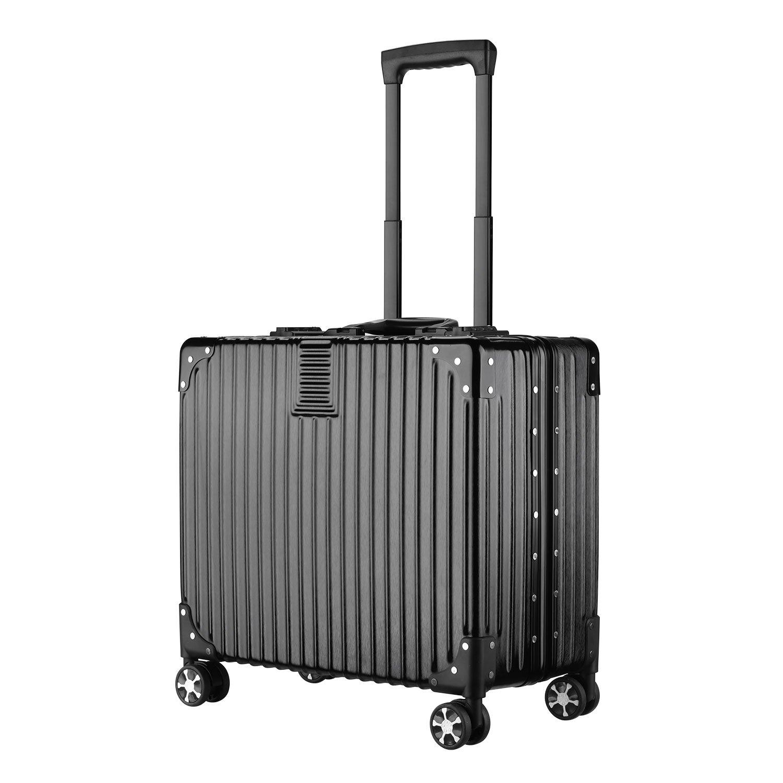 (アスボーグ)ASVOGUE スーツケース キャリーケース 復古風 TSAロック 鏡面仕上げ アルミフレーム 旅行 超軽量 ファスナーレス 機内持込おOK キャリーケース B078VTF6LD SS|ブラック-ダブルロック ブラック-ダブルロック SS