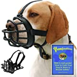 Pawfection Soft Basket Dog Muzzle with Adjustable Straps, Prevents Barking, Chewing and Biting Allows Panting and Drinking, Secure fit, Black, Free How to Train E-mail Guide for Safety