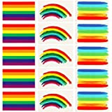 (Square) - 24pcs Gay Pride Rainbow Stickers Temporary Tattoo Body Paint 3 Shapes Tattoo Set for Gay Pride Celebrations