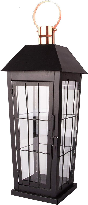 Home Essentials 42396 Iron Lantern with Black Powder Silver Top, 15-inch High