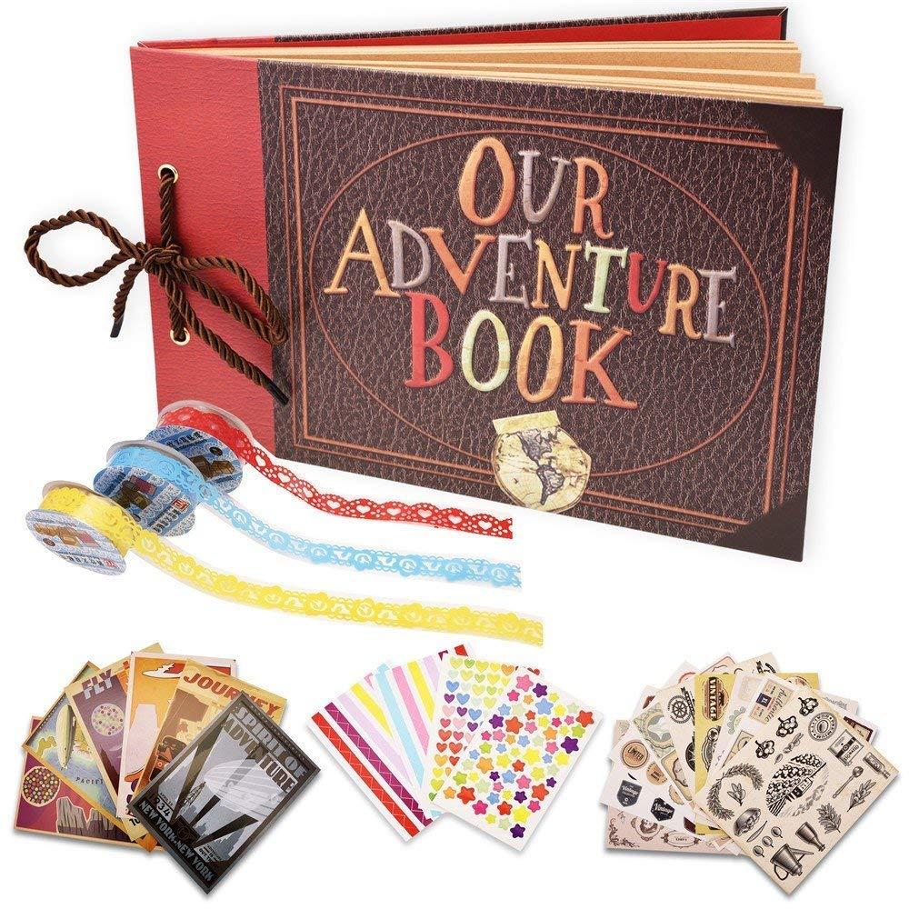"""Album per Foto per Scrapbooking """" Our Adventure Book"""" , Espandibile80 Pagine, con kit di Accessori Fai Da Te,Regalo di Compleanno Laurea Nozze Anniversario per Amante, Amici, Famiglia, Bambini Yango"""