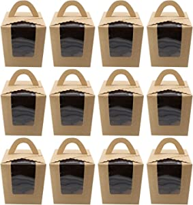 Spec101 Single Cupcake Holders - 100 Pk Individual Cupcake Boxes with Inserts, Large Cupcake To Go Container, Brown