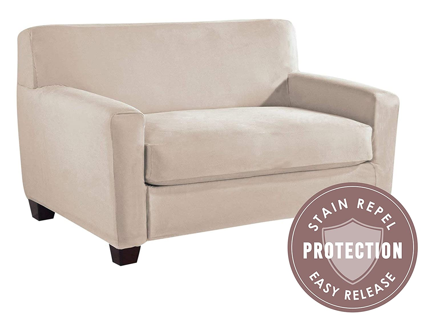 Tailor Fit Microsuede Sofa Furniture Slipcover with Detachable Cushion 823230 Ivory Stain Repellant /& Stretch Fit Material