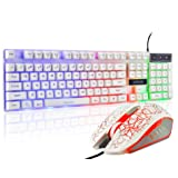 Gaming LED Backlit Keyboard and Mouse Combo with Emitting Character 3 Adjustable LED Backlight 3200DPI USB Mouse Multimedia Keys Mechanical Feeling for PC Resberry Pi Mac TOB Box (White) (Color: 910w)