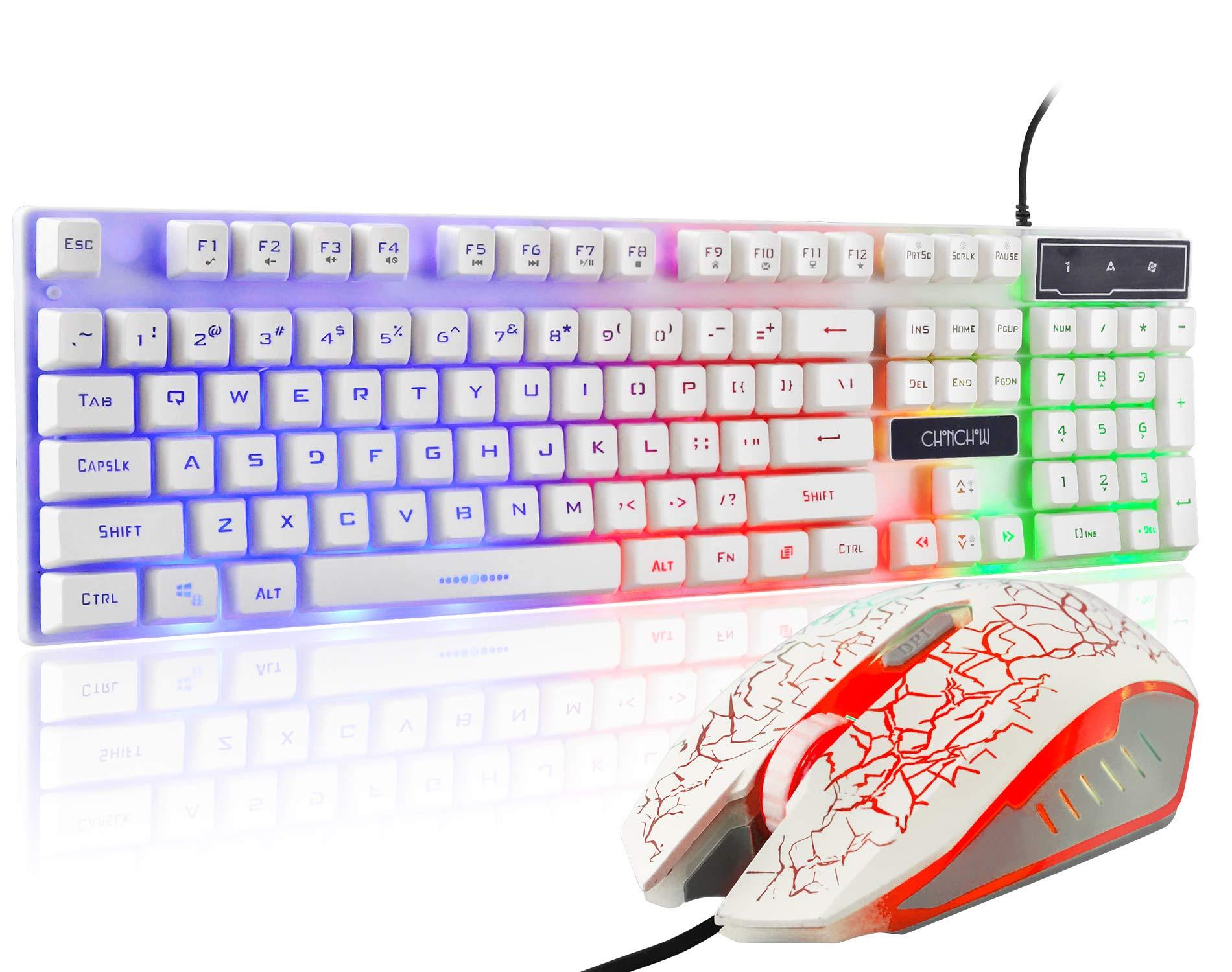 Gaming LED Backlit Keyboard and Mouse Combo with Emitting Character 3 Adjustable LED Backlight 3200DPI USB Mouse Multimedia Keys Mechanical Feeling for PC Resberry Pi Mac TOB Box (White)