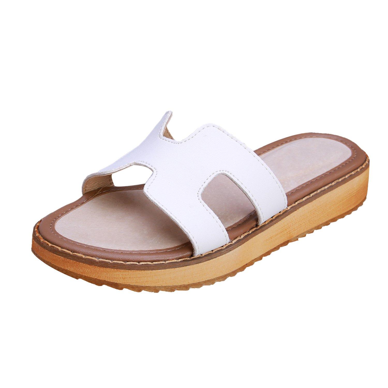 Smilun Girl's Fashion Flip Flops Thongs Sandals Wedge Sandals Flip Flops Thongs Open Toe Sandals Flip Flops Flip Flops Thongs Sandal Summer Sandals White US6