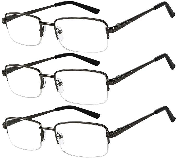 331be248796 Amazon.com  Reading Glasses Set of 3 Half Rim Black Metal Glasses for  Reading Quality Spring Hinge Readers Men and Women +1  Clothing