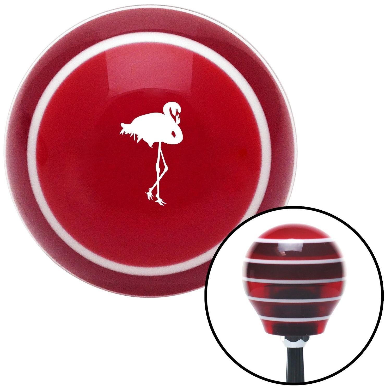 American Shifter 273641 Shift Knob White Flamingo Red Stripe with M16 x 1.5 Insert