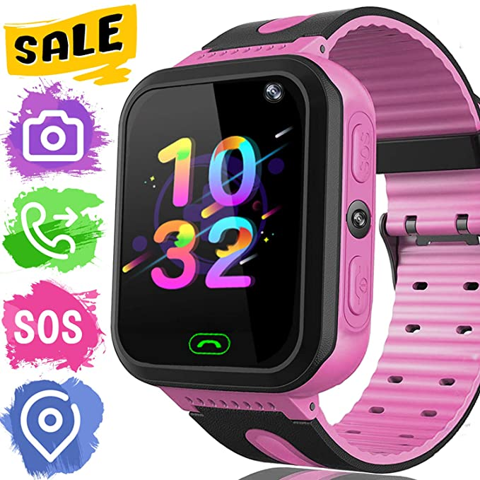 Kids Smart Watch Phone - Kids GPS Tracker Smartwatch for Girls Boys with Mobile Phone SOS Anti-lost Camera Game Touch Screen Children Outdoor Digital ...