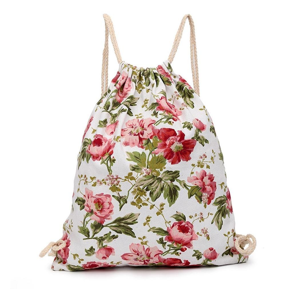 Sameno flower Canvas Outdoor outing Beach Travel Outdoor Backpack Pouch Bag (Red)