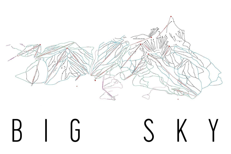 Amazon com: Big Sky Poster, Big Sky Ski Resort Poster, Big