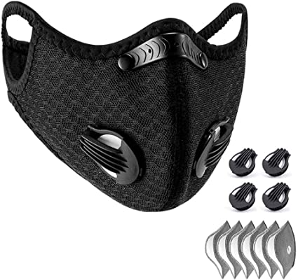 Amazon Com Wisremt Cycling Face Mask Nylon Spandex Activated Carbon Windproof Dust Proof Lightweight Breathable Quick Dry Outdoor Sportswear Mask 1 1 Black Mask 6 Filters Sports Outdoors