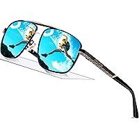 SPLION Herren Sonnenbrille UV400 Schutz Polarisierte Sonnenbrille Fahrerbrille Rechteckige Metall Rahmen