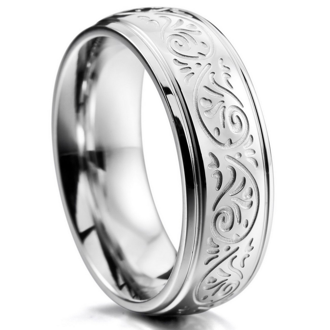 MOWOM Silver Tone 7mm Stainless Steel Ring Band Engraved Florentine Design ca5040014-parent